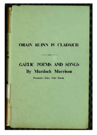 Orain Fuinn is Cladaich : Gaelic poems and songs