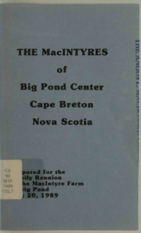 The MacIntyres of Big Pond Center, Cape Breton, Nova Scotia