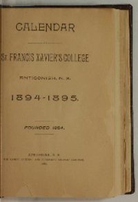 Calendar of St. Francis Xaver's College, Antigonish, N. S., 1894 - 1895