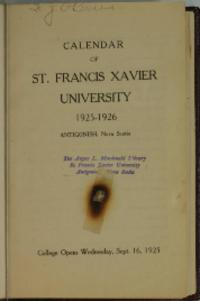 Calendar of St. Francis Xavier University, 1925-1926