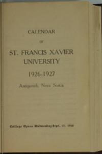 Calendar of St. Francis Xavier University, 1926-1927