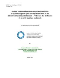 Analyse contextuelle et évaluation des possibilités d'apprentissage en ligne sur l'équité en santé et les déterminants sociaux de la santé à l'intention des praticiens de la santé publique au Canada