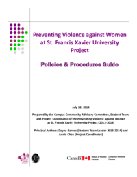 Preventing Violence against Women at St. Francis Xavier University Project: Policies & Procedures Guide